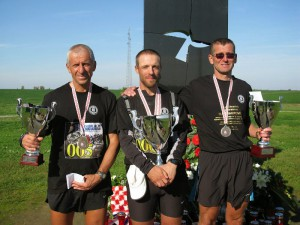 First three at the12th Ultramarathon Zagreb - Vukovar 2013: Miro Režonja, Boris Ivanovič and Elvir Rakipović