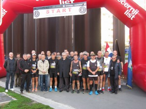 Runners and organizers at the finish of 12th Ultramarathon Zagreb - Vukovar 2013